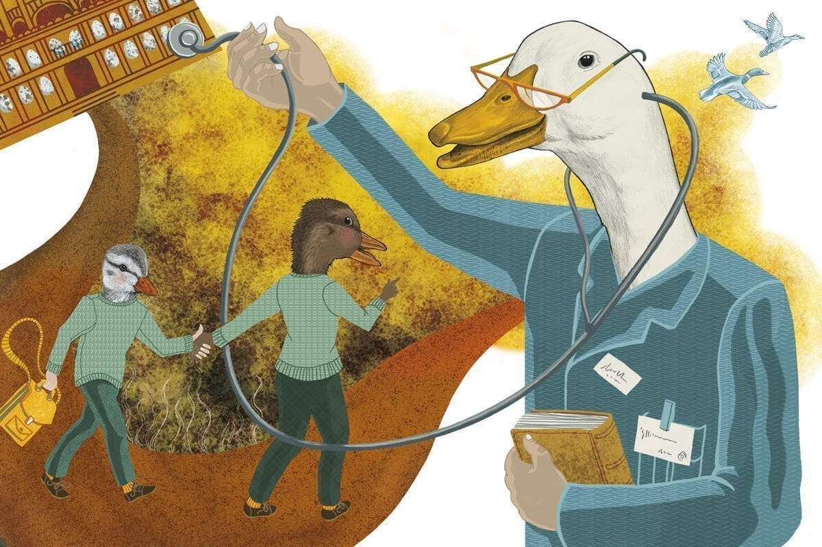 Editorial illustration for a set of article about internships at hospitals.