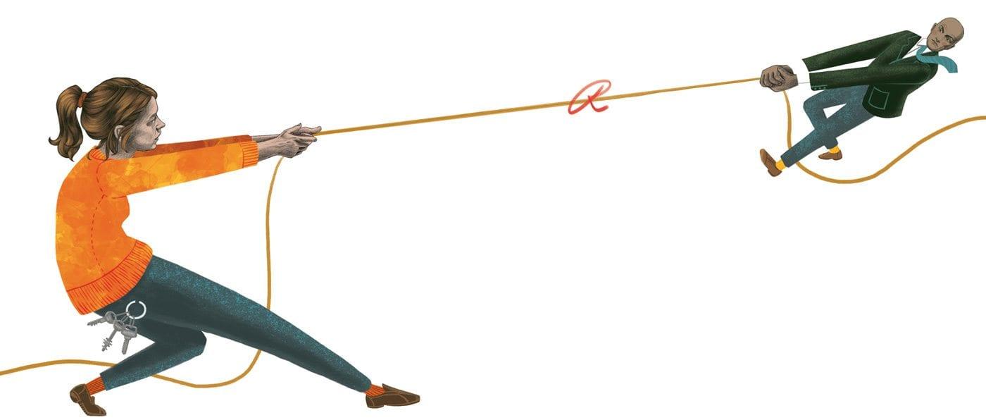 Tug-war over school question. Illustration by Felicia Fortes